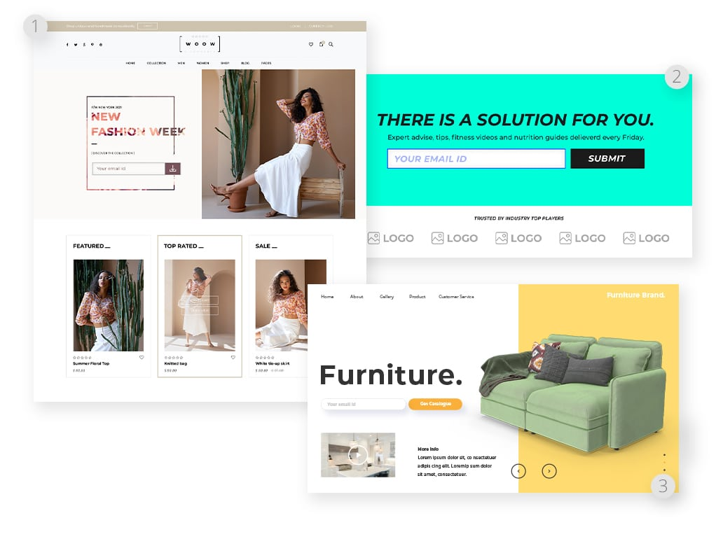 Homepage as squeeze page examples