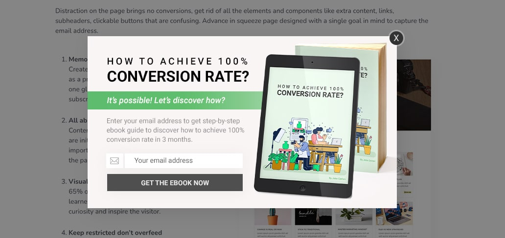 Ebook Squeeze page example
