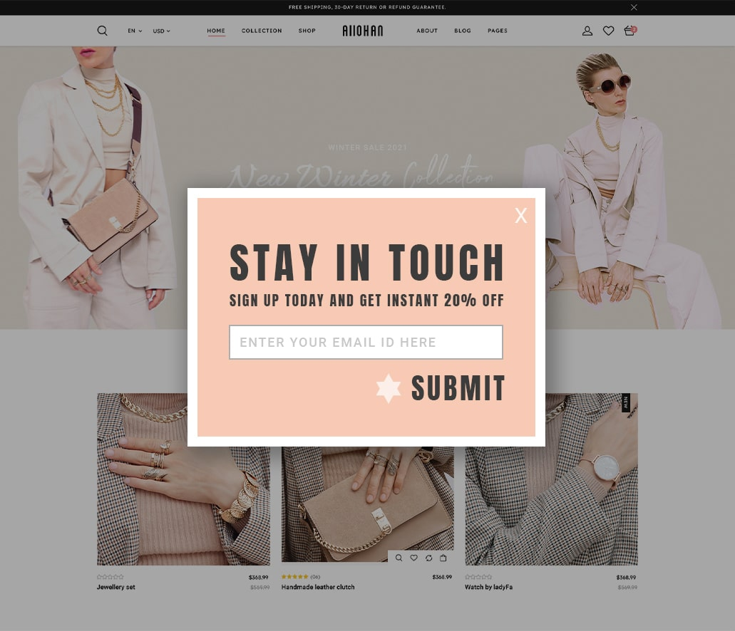 Sign up discounts squeeze page example