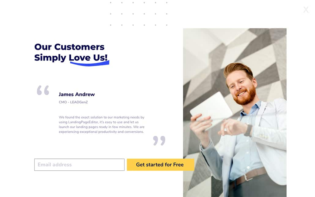 Squeeze page Testimonial example