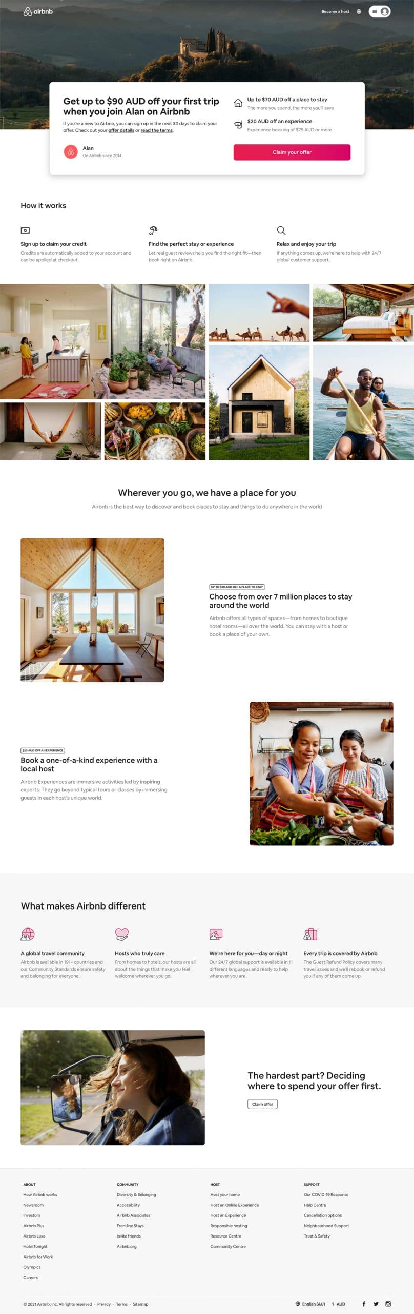 best landing page by Airbnb example
