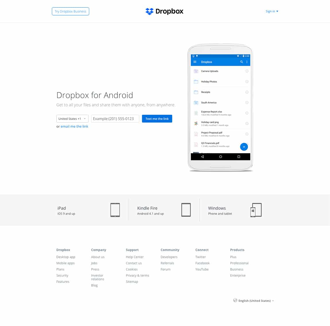 best landing page by Dropbox example