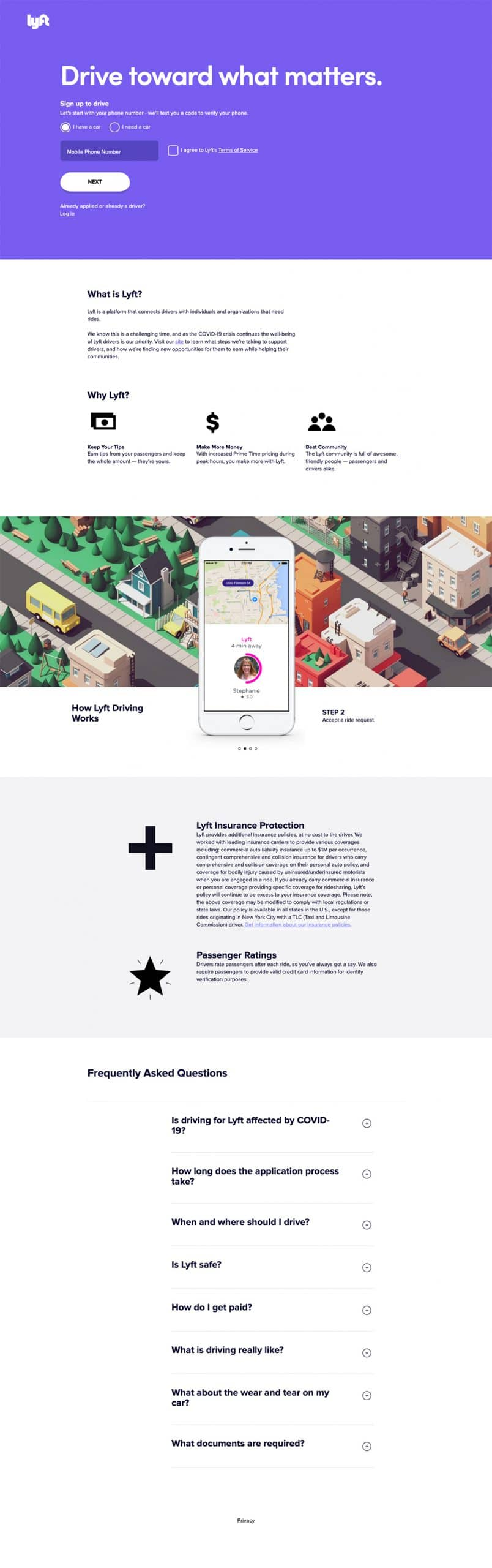 best landing page by Lyft example