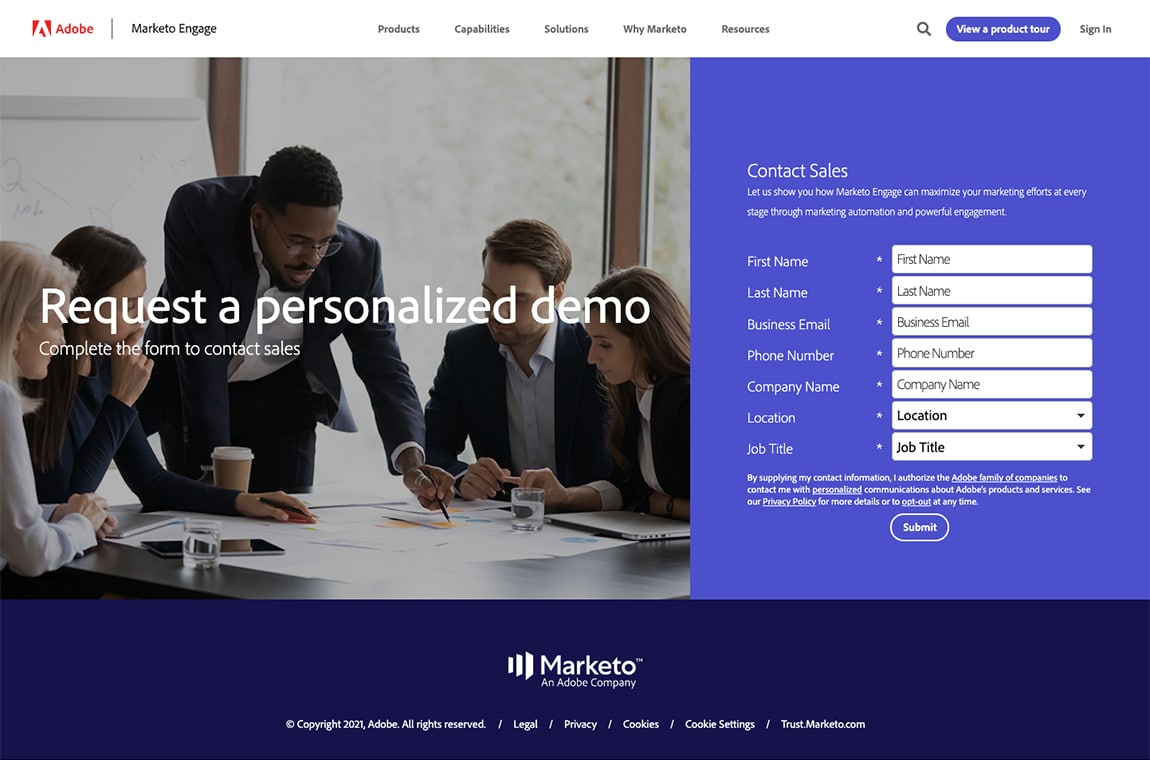 best landing page by Marketo example
