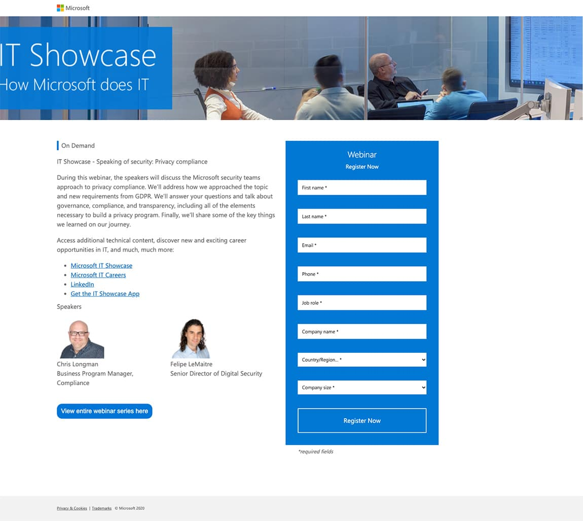 best landing page by Microsoft example
