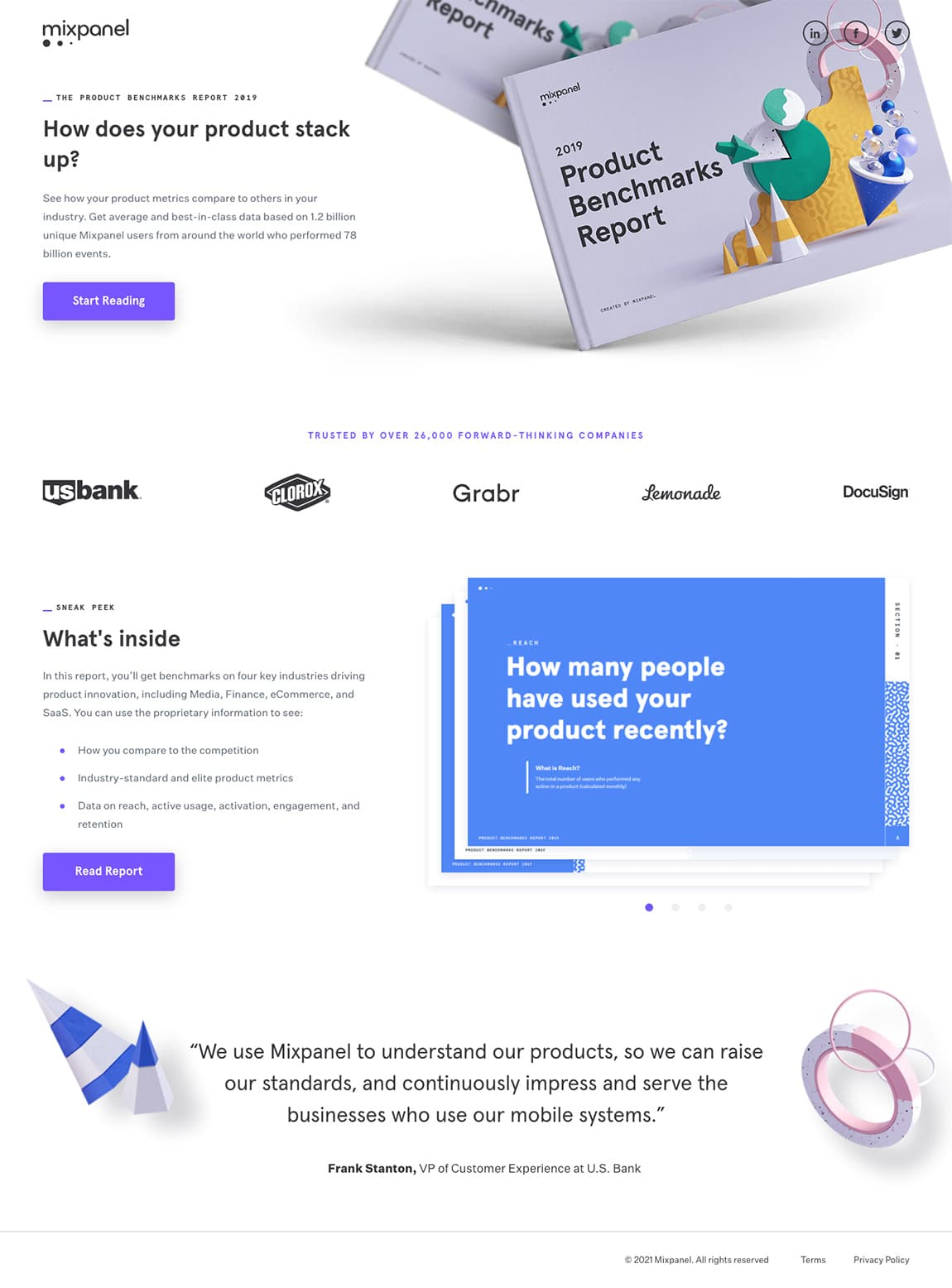 best landing page by Mixpanel example