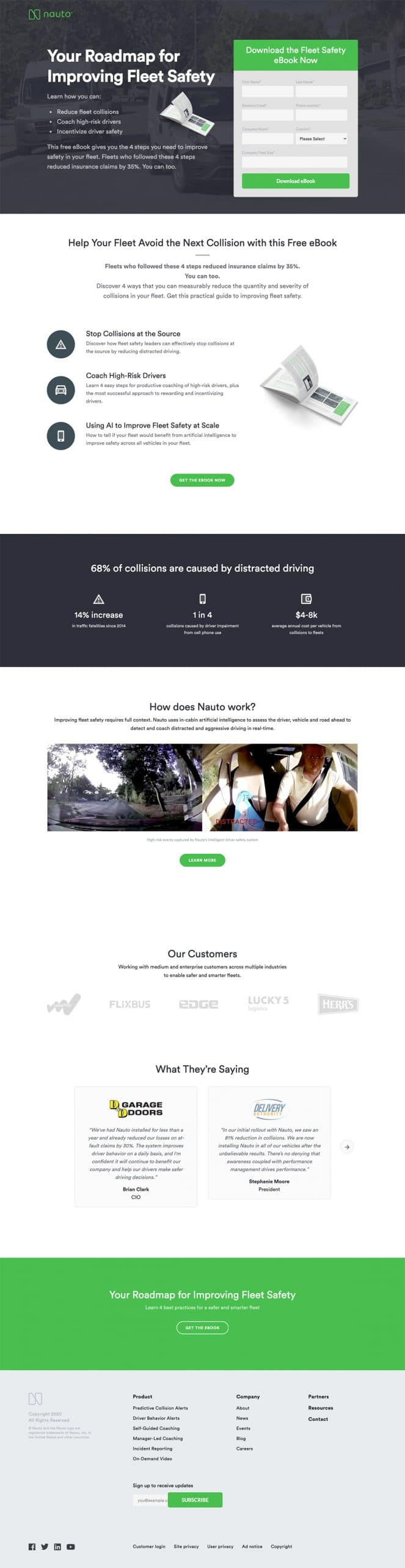 best landing page by Nauto example