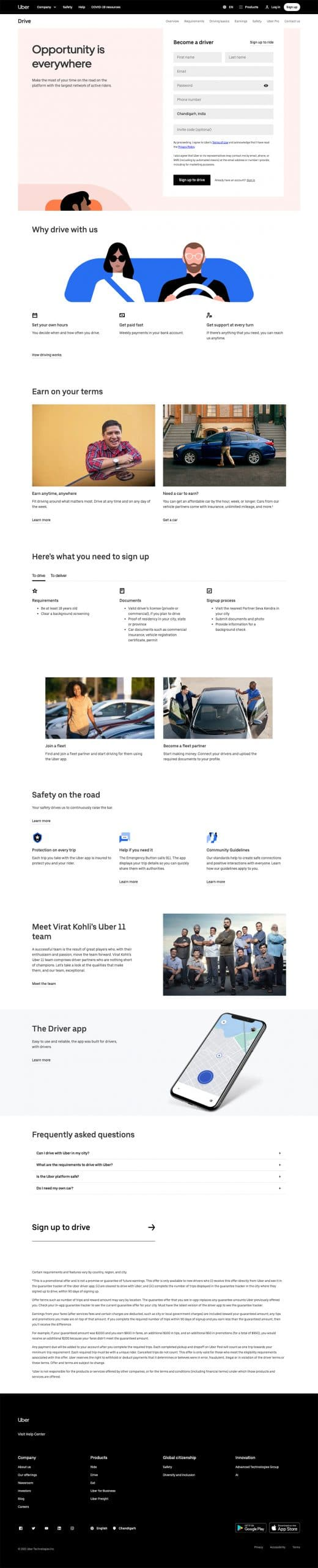 best landing page by Uber example