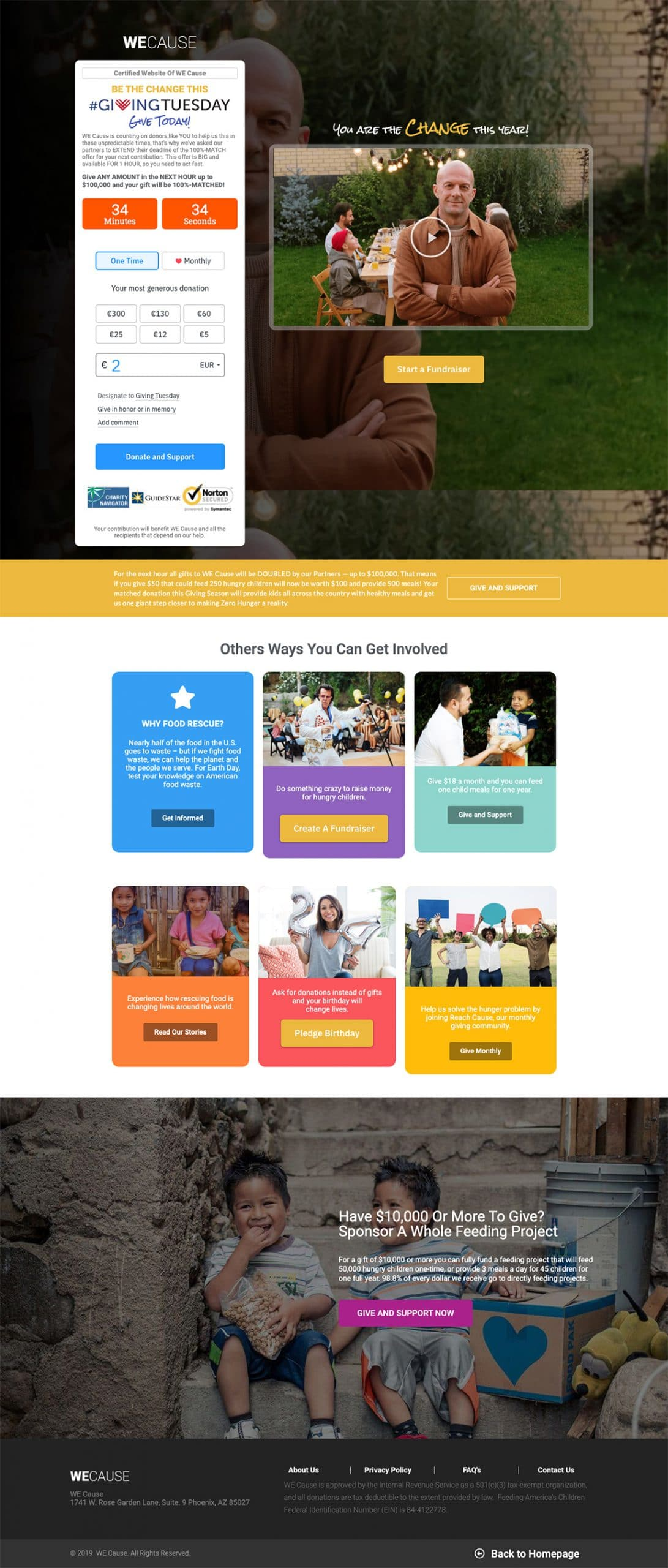 best landing page by Wecause example