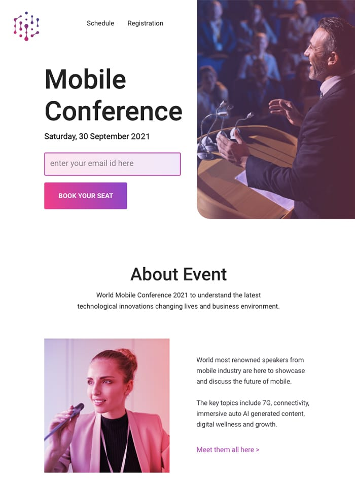email id based event registration squeeze page example