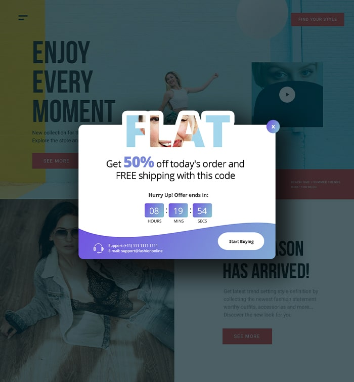 squeeze page exit intent popup