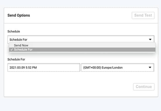 schedule sending distribution